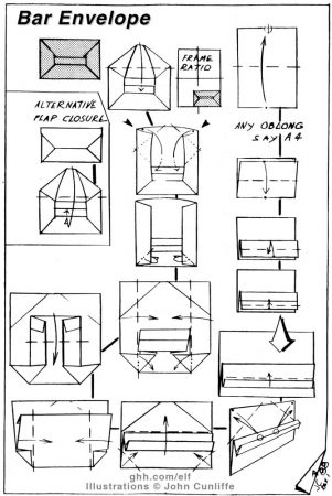 Bar Envelope – Frances Levangia. Flap slotted into aperture. Adapted from a fold attributed to Frances Levangia; reference occurs in British Origami Society Magazine 114 together with alternative folding method and background of creator